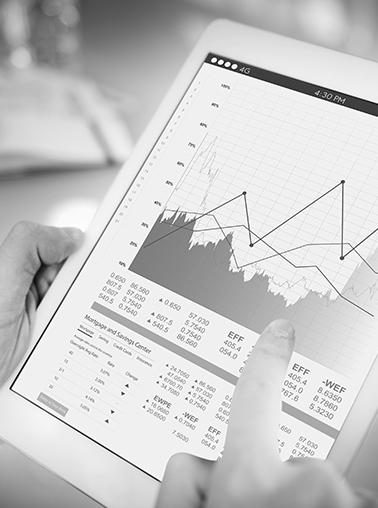 Zoom tablette avec informations financières